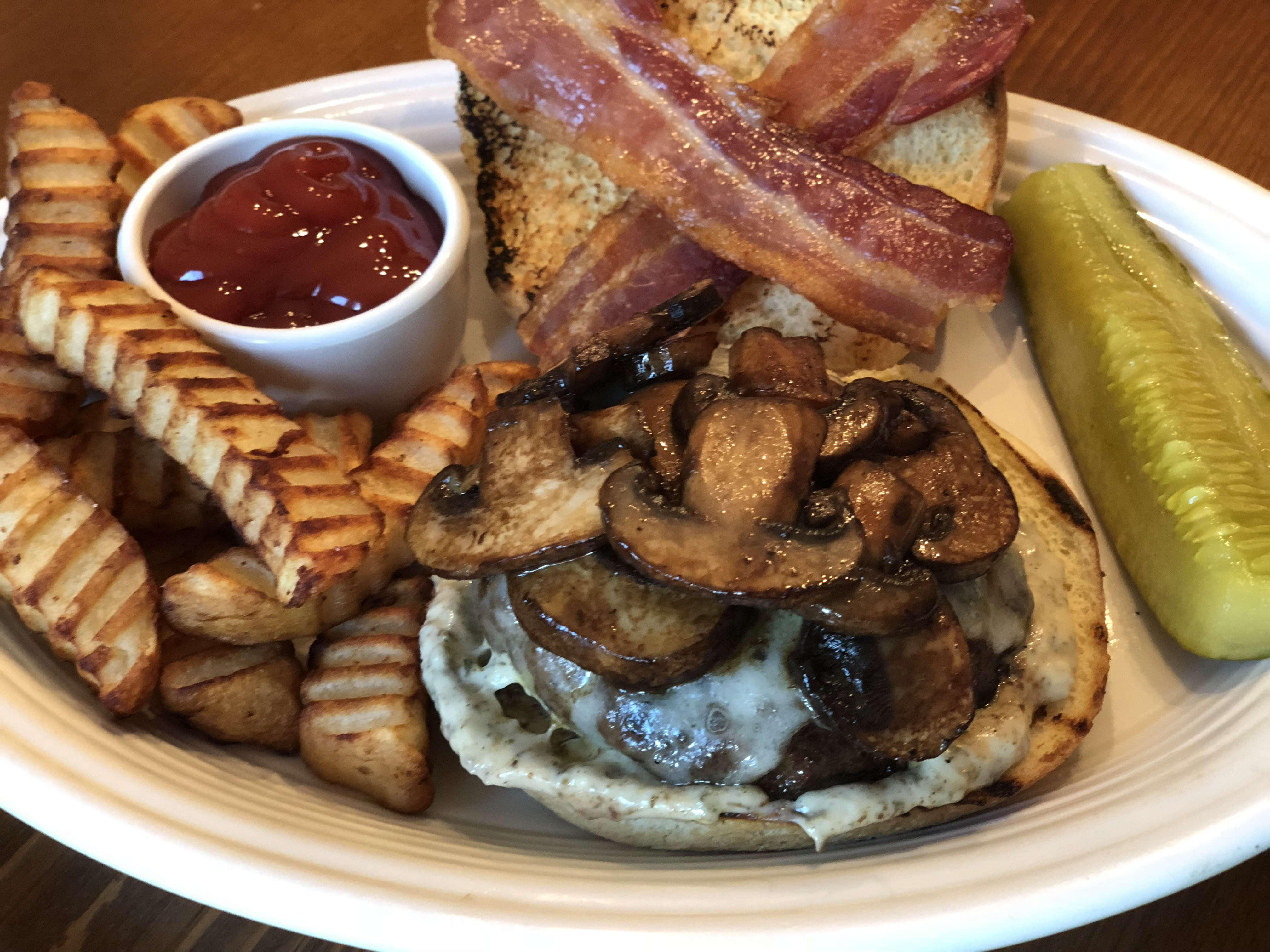 Bacon-Mushroom-Swiss Burger Ms. Chef Esh