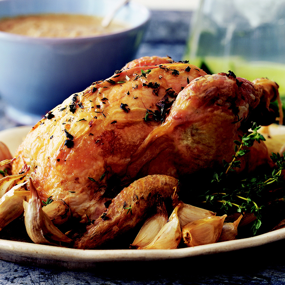 Garlic gets sweet and mellow when roasted in this recipe. Squeeze the cloves from their skin, and eat with the chicken or spread on bread. Source: Diabetic Living Magazine