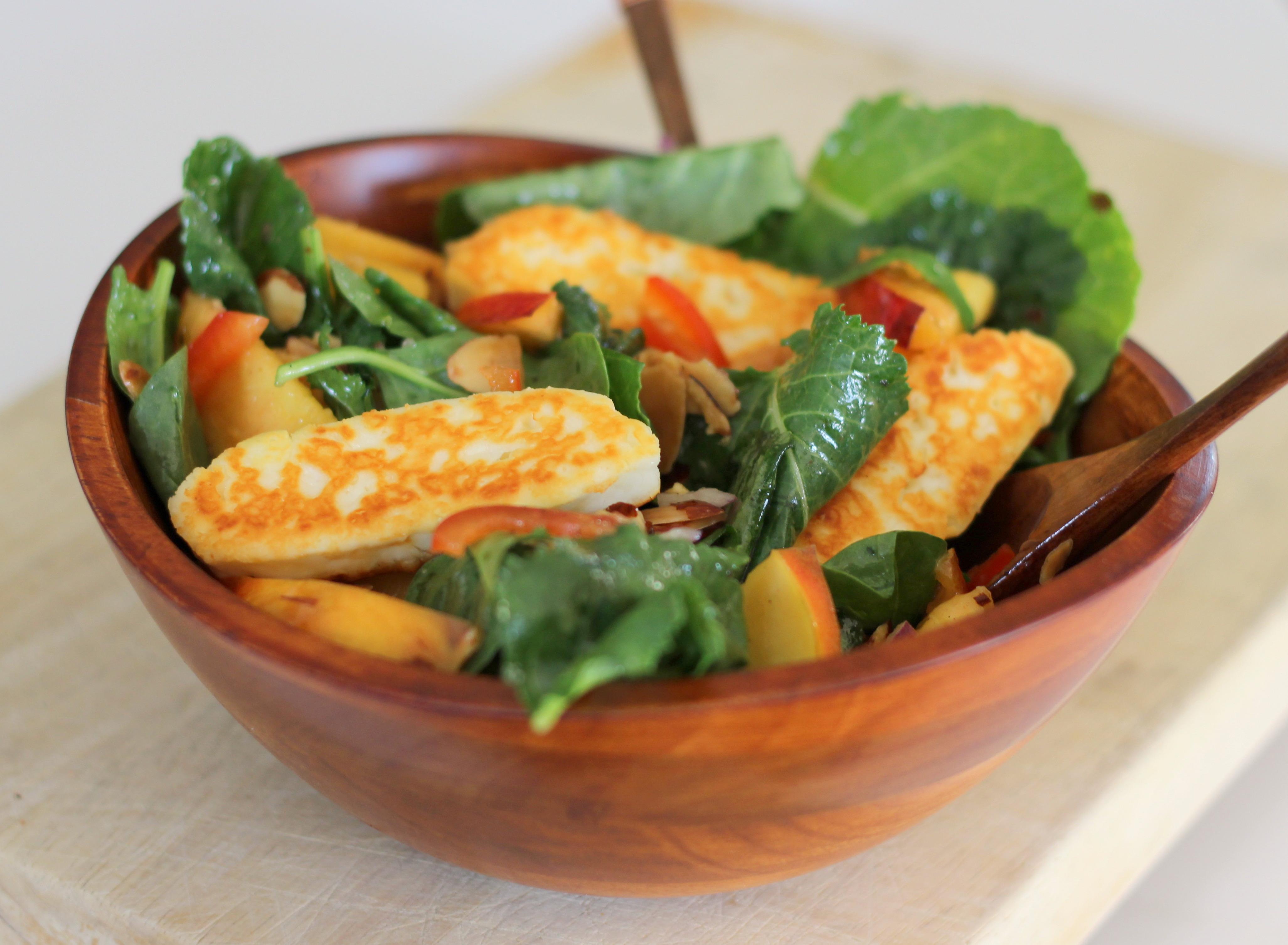 Spinach, Nectarine, and Halloumi Salad