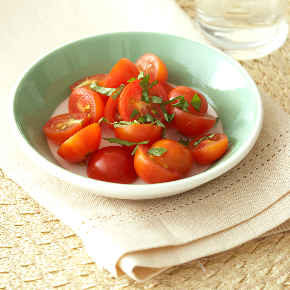 If you're a tomato fan, the cherry-size orbs are perfect for guilt-free nibbling. You can enjoy a snack of 1/2 cup of cherry tomatoes for just 13 calories and 2 grams of carb. Plus, tomatoes pack a bevy of antioxidants, including vitamins A, C, and E, plus heart-healthy lycopene. Source: Diabetic Living Magazine