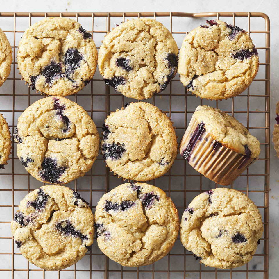 These gluten-free muffins are full of fruit and guaranteed to be a family favorite. Choose your blueberries wisely. Plump, juicy berries with a deep-blue hue are best. Source: EatingWell.com, July 2018
