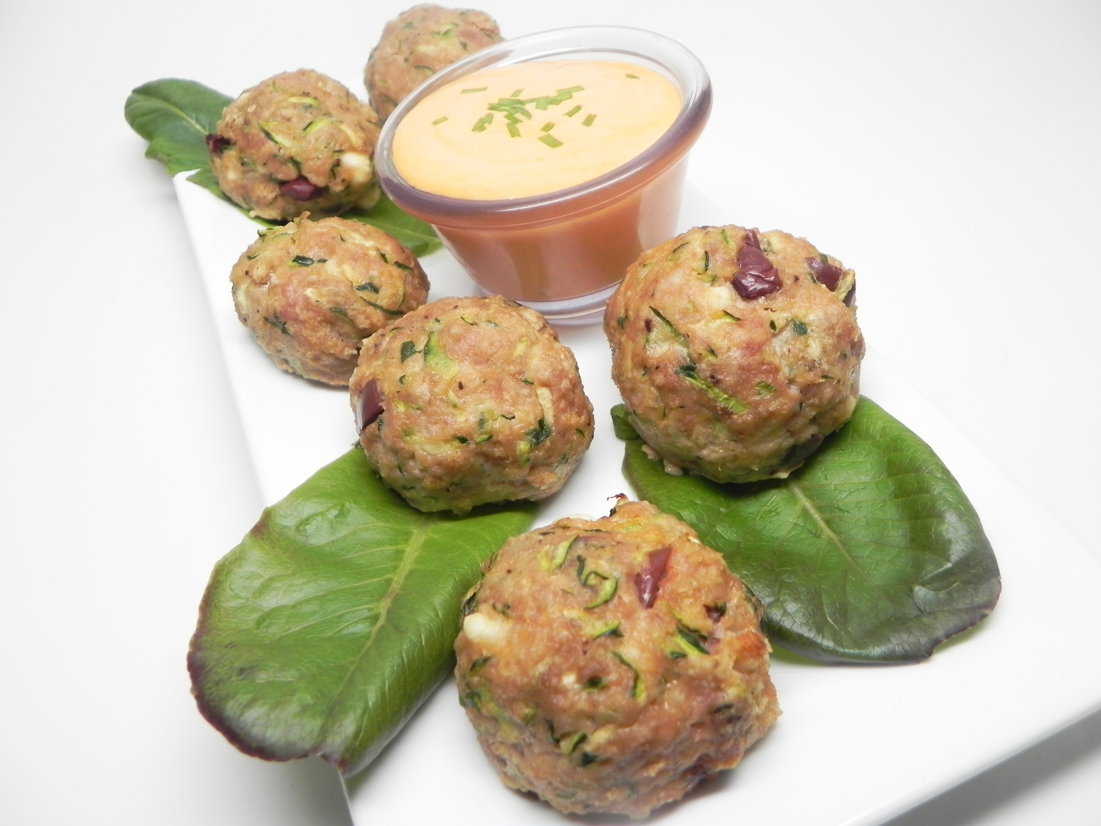 Turkey Zucchini Meatballs with Roasted Pepper Dipping Sauce