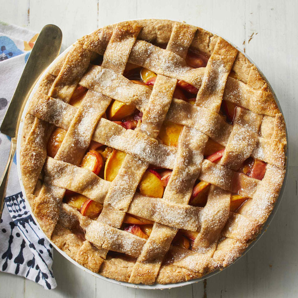 Peach pie tastes like the essence of summer. If using fresh peaches, make sure they are ripe but firm. (Frozen peaches can also be used. There's no need to thaw them.) The lattice crust looks stunning and is not difficult to do (see our how-to video, below), but if you're pressed for time, simply place the second crust on top and cut three slits in the dough to vent steam. Source: EatingWell.com, July 2018