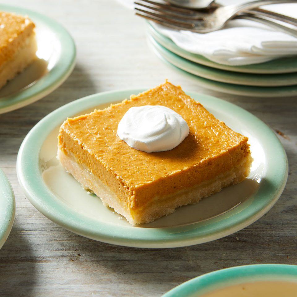 This decadent, moist cake features a creamy pumpkin-spiced custard atop a shortbread-like crust. The cake mix is a convenient shortcut for making the buttery crust. Serve with whipped cream. Source: EatingWell.com, July 2018