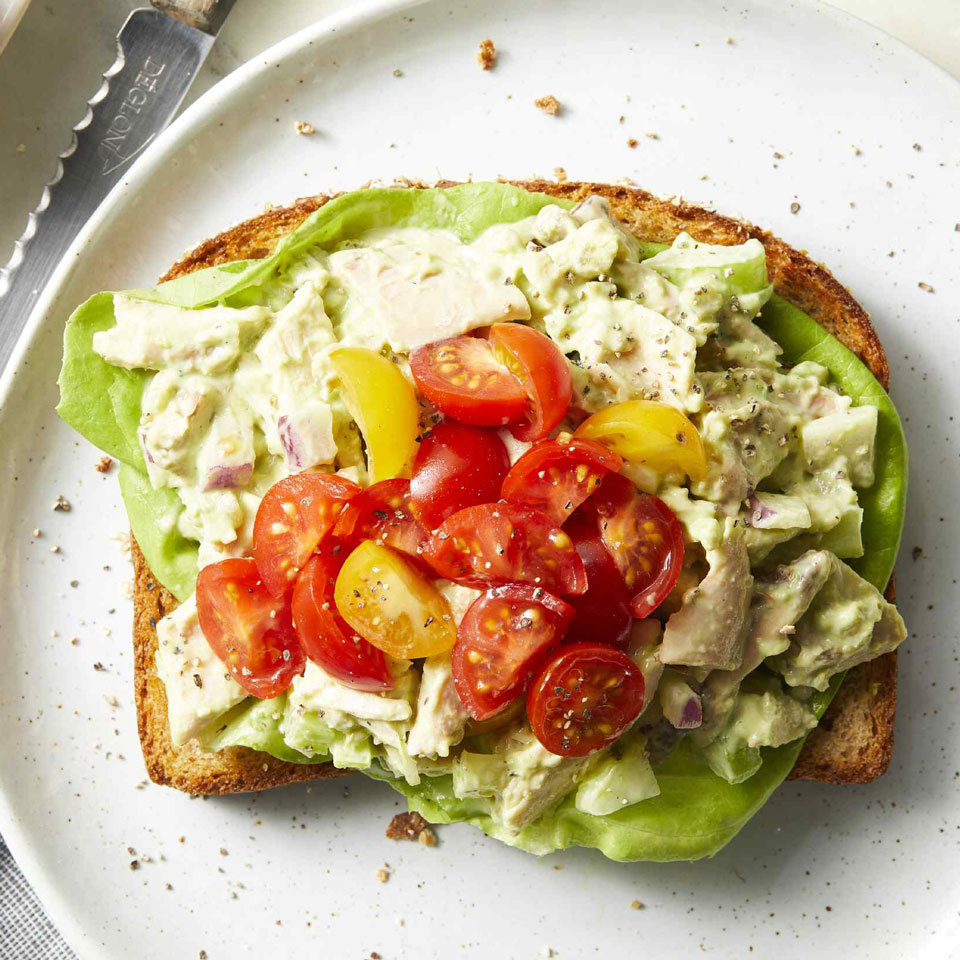 Avocado makes an exceptionally creamy and healthful dressing for this chicken salad. A bit of ranch dressing with pickled jalapeño adds a tangy spin to the lunchtime classic. Serve it on a slice of whole-wheat toast for an open-face sandwich or in a lettuce cup for a low-carb lunch. Source: EatingWell.com, July 2018