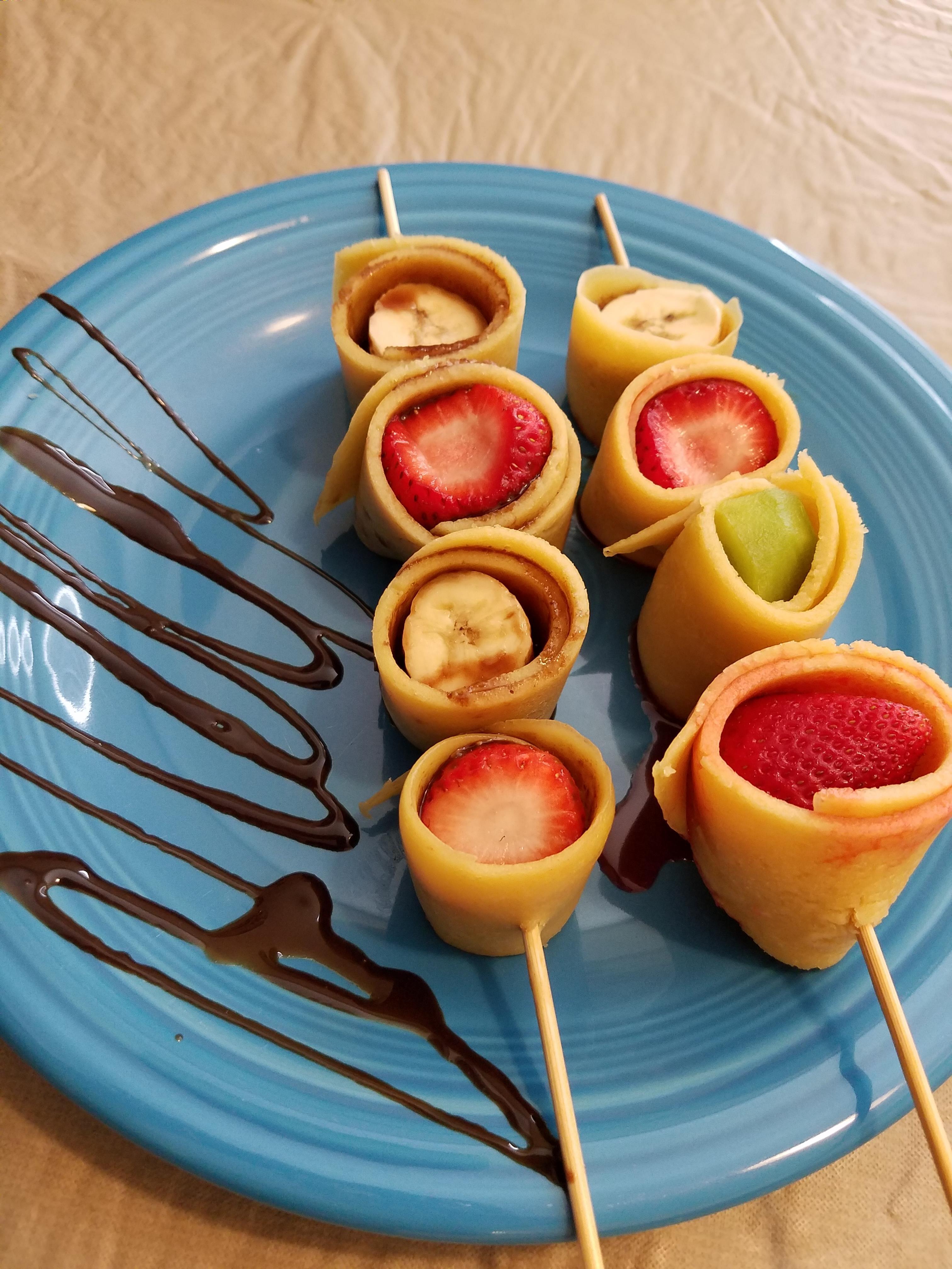 Fruit Crepe Kebabs