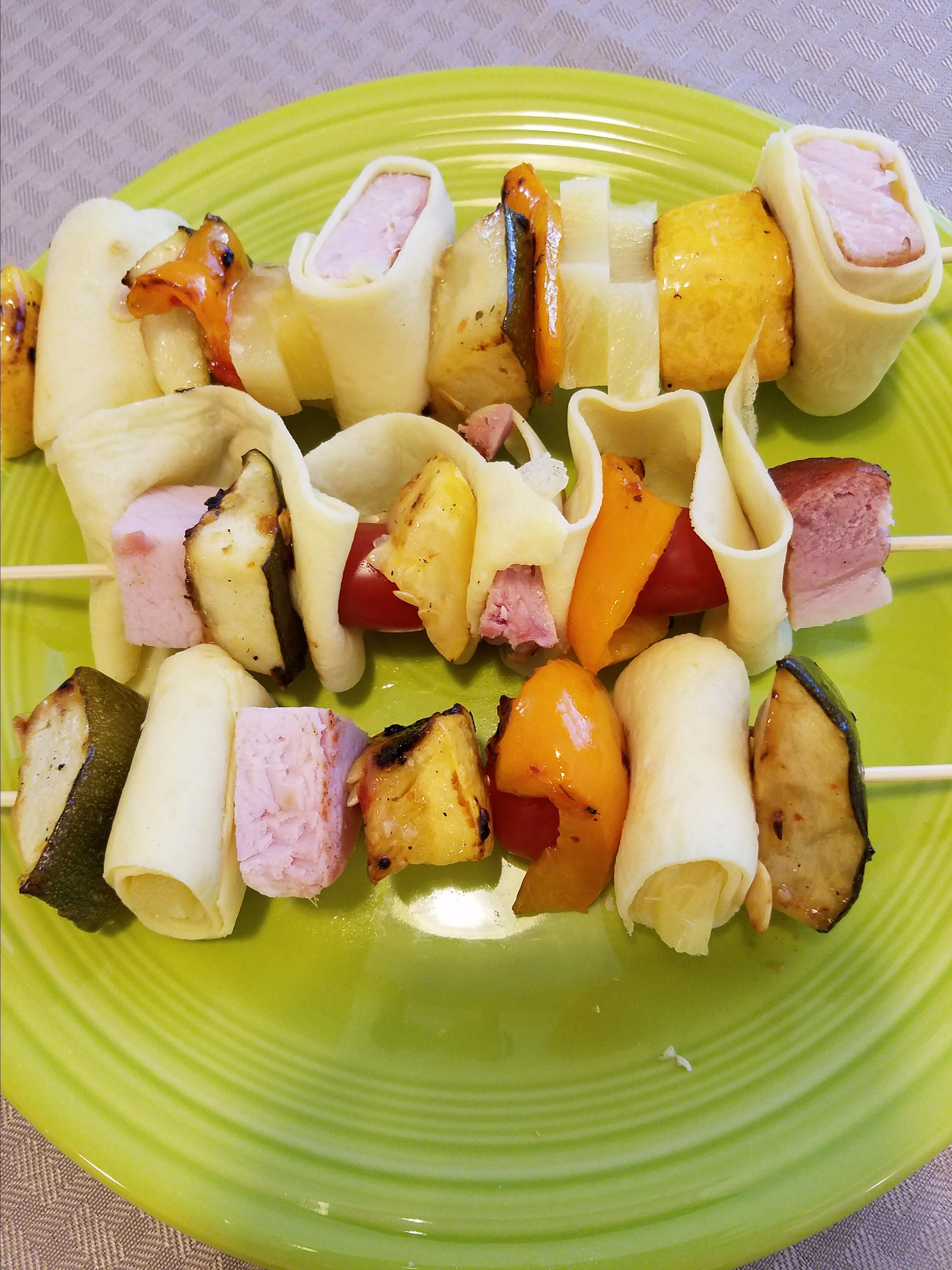 Ham and Veggie Crepe Kebabs