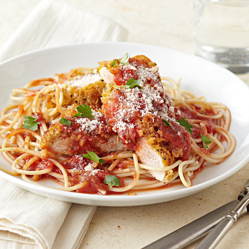 Chicken Romano is a dish consisting of baked chicken coated in crusty, Romano cheese. Our version is served with low-sodium tomato sauce and multi-grain spaghetti. It's a perfect weeknight dinner solution, on your plate in just 40 minutes. Source: Diabetic Living Magazine