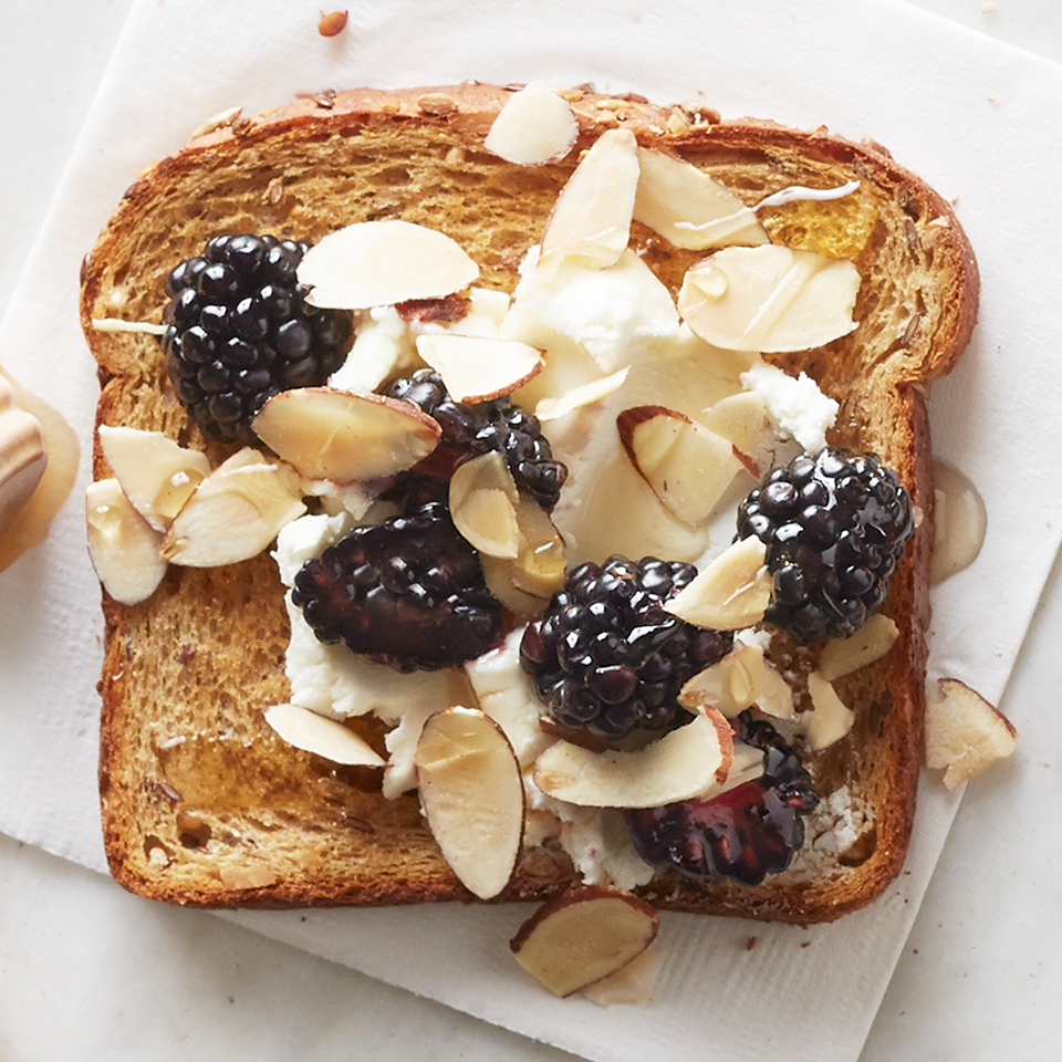 Goat Cheese, Blackberry and Almond Topped Toast Diabetic Living Magazine
