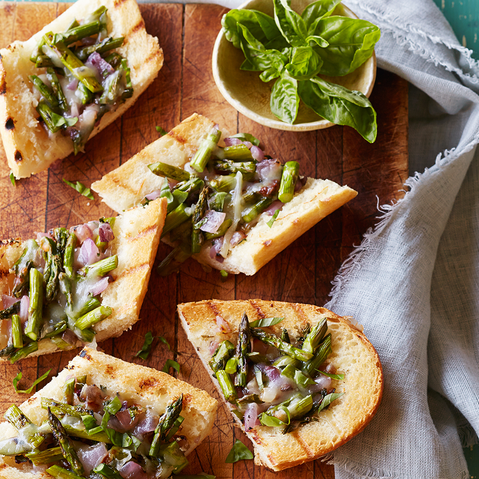 Grilled Asparagus-Onion Crostini Diabetic Living Magazine