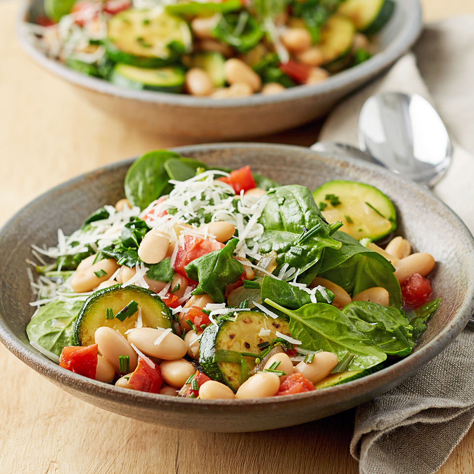 Topped with Asiago cheese, this bean ragout dinner for two is perfect for a cool fall night. Source: Diabetic Living Magazine