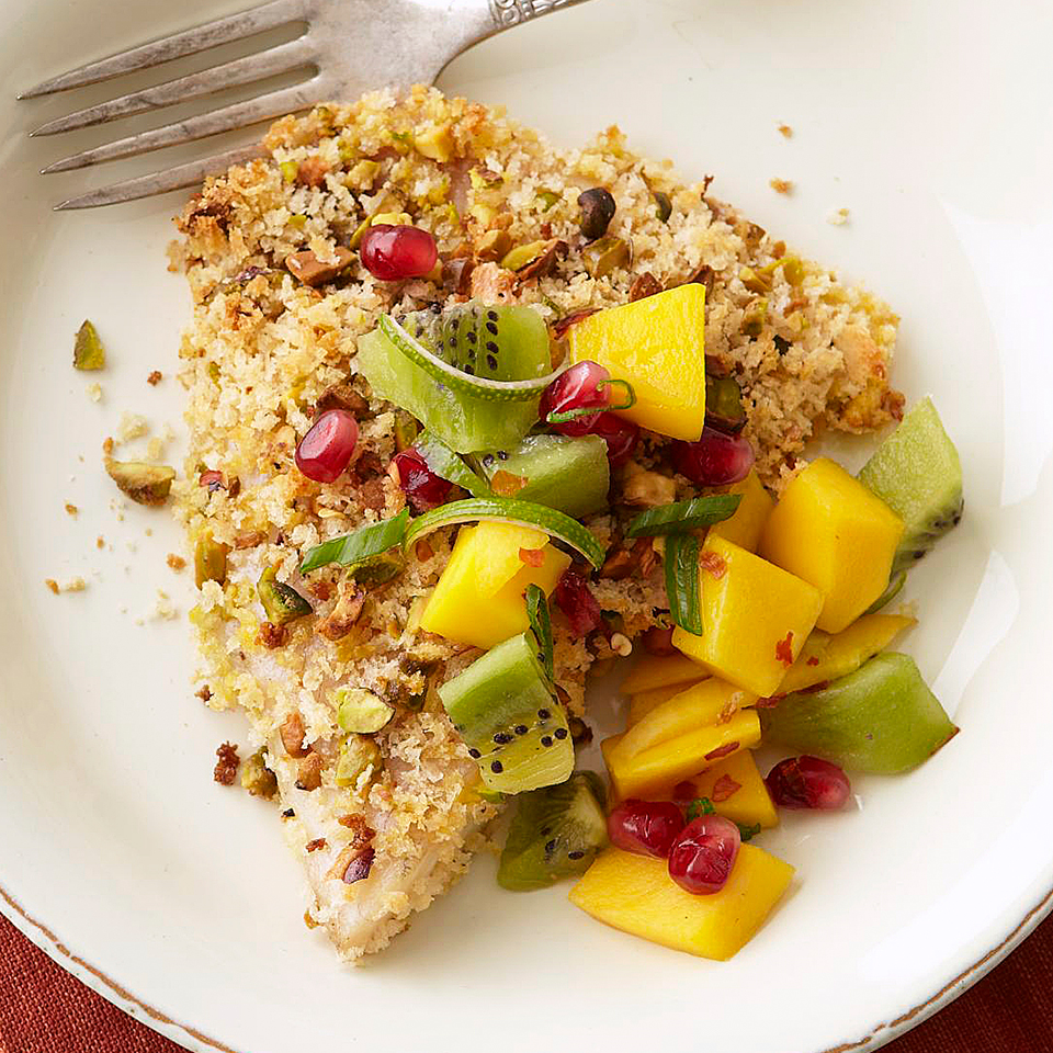 Grouper has a relatively mild flavor, but by adding the bold flavors of pistachio, mango and pomegranate, your taste buds will be delighted! This easy-to-prepare dinner takes just 40 minutes.