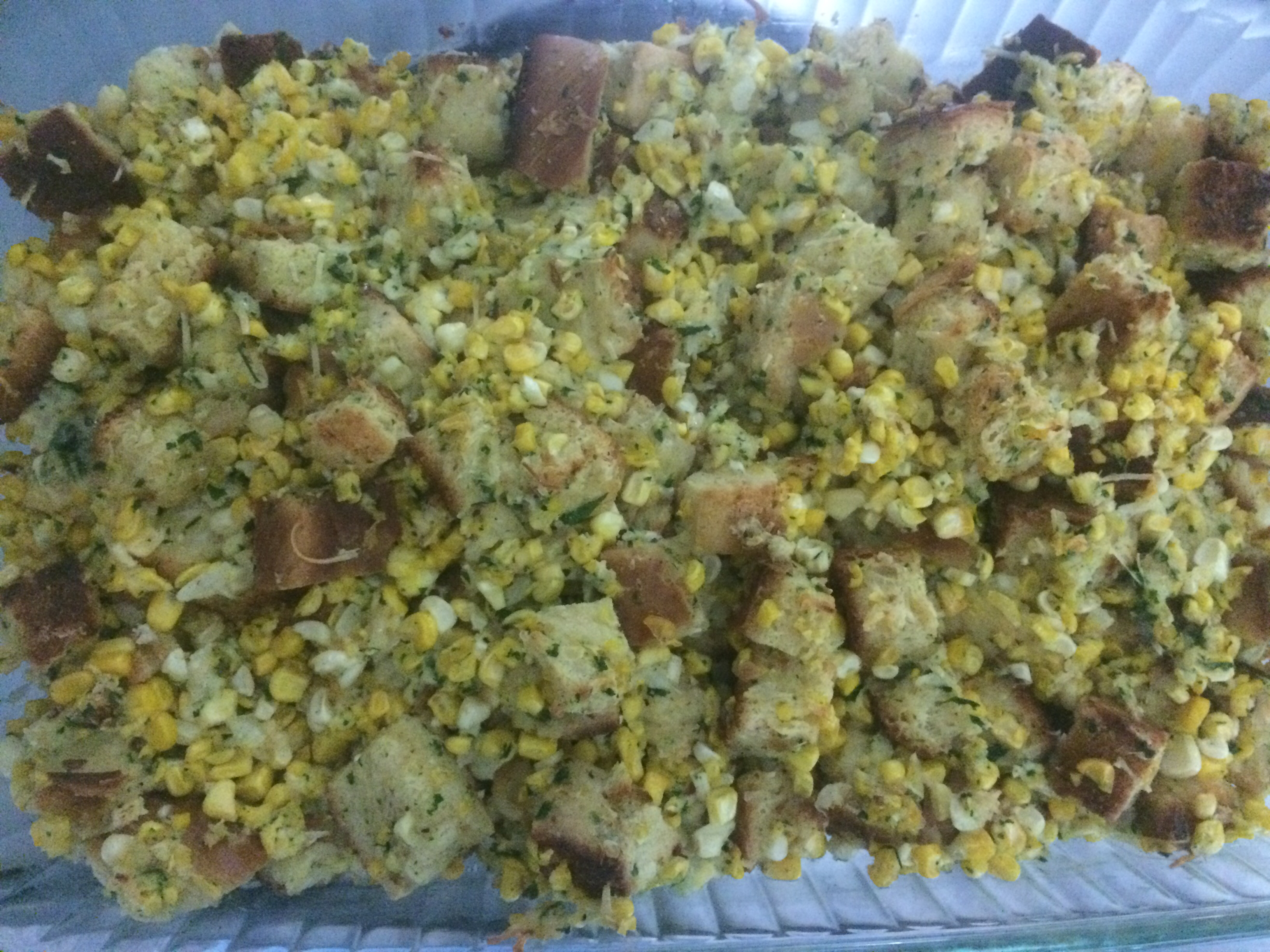 Corn and Challah Stuffing with Fried Sage