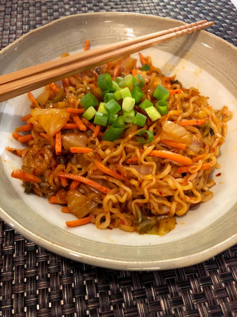 Kimchi Udon Noodle Stir-Fry