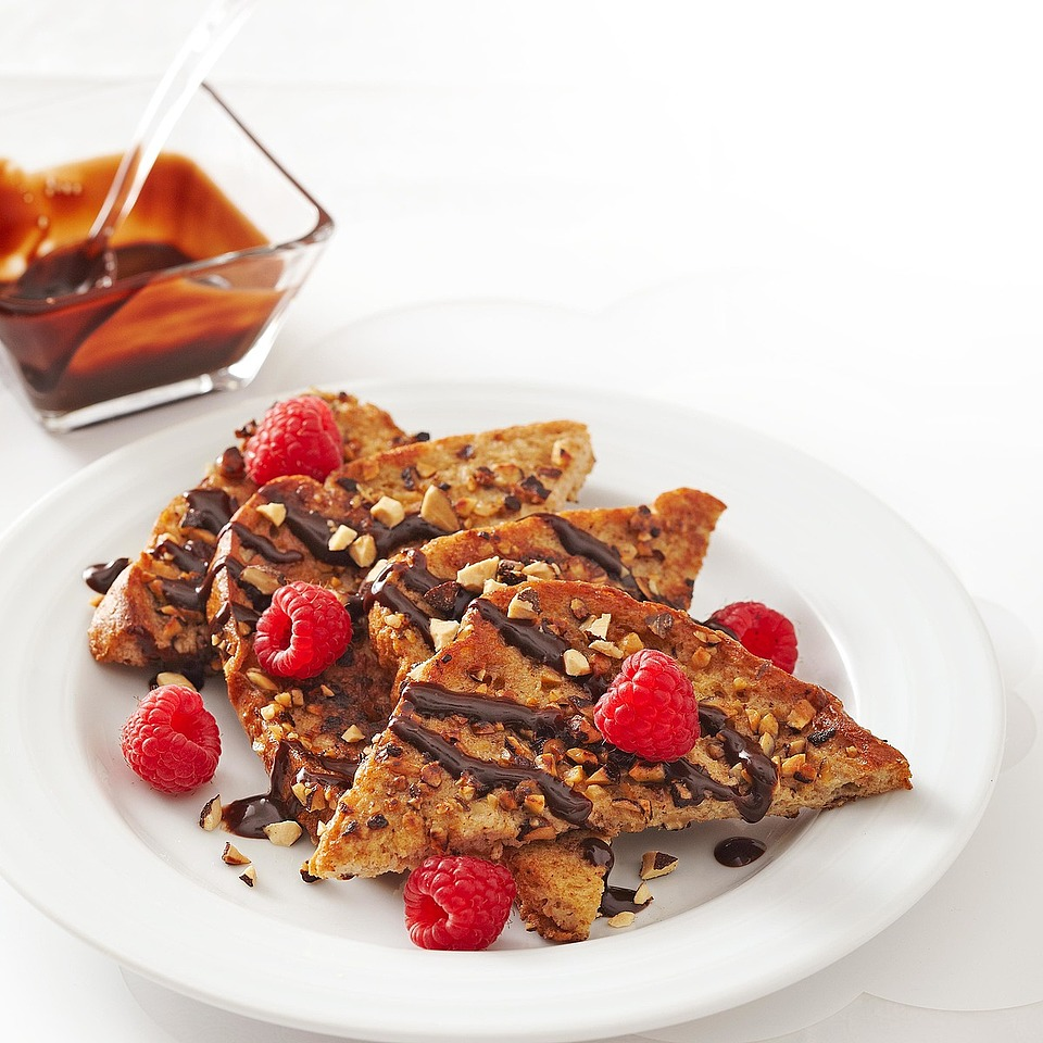 Your day will be off to a sweet start with this chocolate almond-coated French toast, topped with chocolate syrup and fresh raspberries. This quick, delicious breakfast for two is ready in just 10 minutes. Source: Diabetic Living Magazine