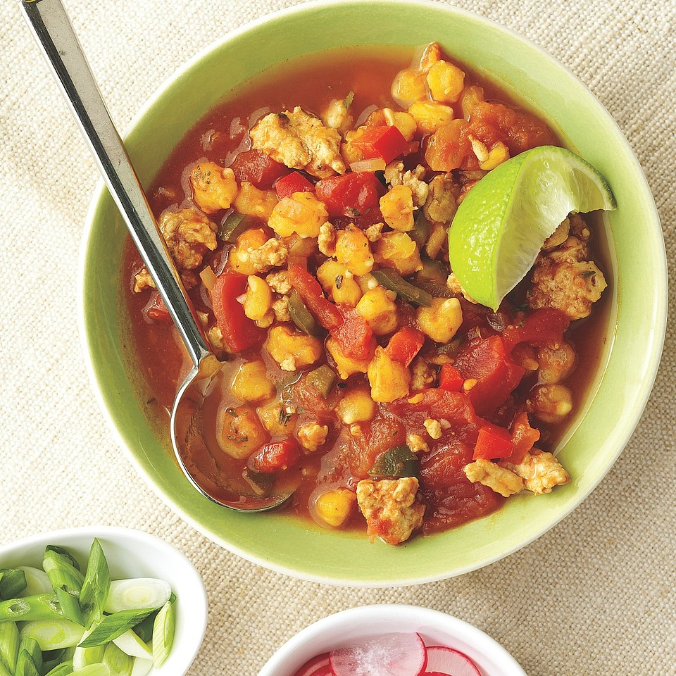 Hominy, onion, garlic and chile peppers are hallmark ingredients in this soup from Mexico. Posole is often made with pork or chicken, but this version uses flavorful turkey breast.