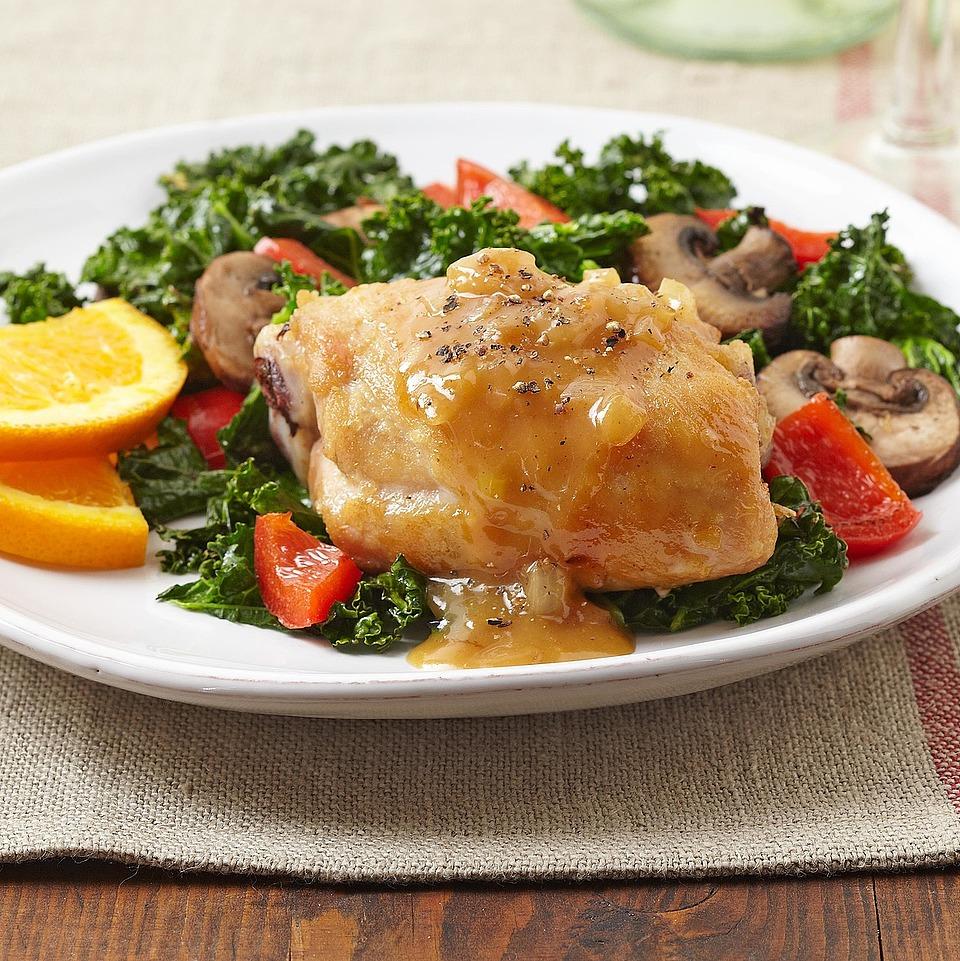 Sweet Orange Chicken over Kale Trusted Brands