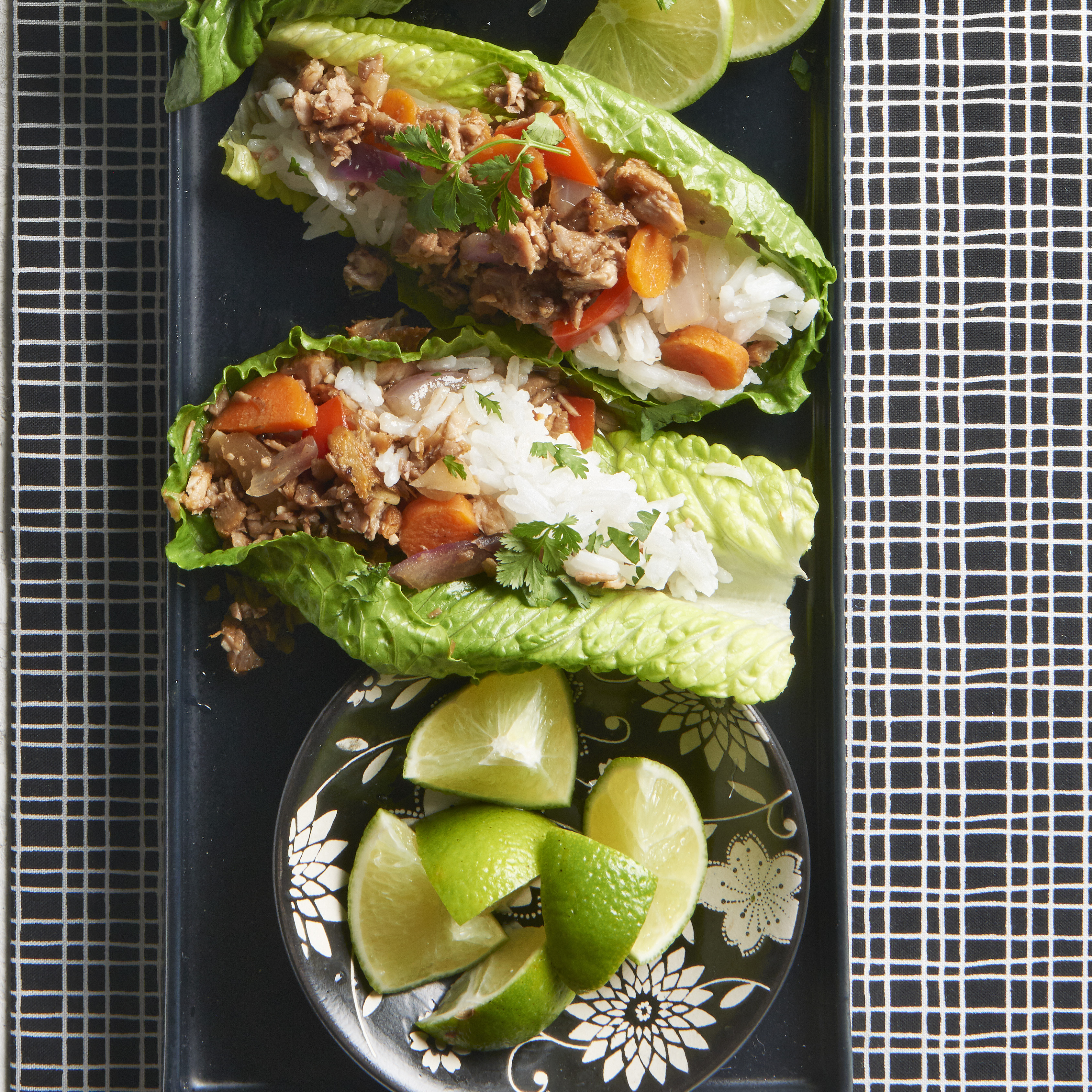 Asian Pork Lettuce Wraps with Coconut-Lime Rice