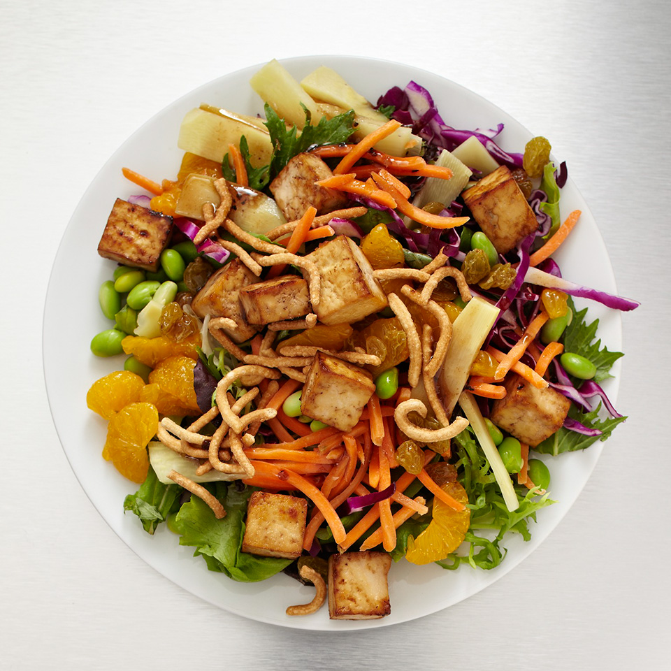 Craving crunch? Bite into this salad loaded with crisp red cabbage, edamame, bamboo shoots, and chow mein noodles. This salad is slightly sweetened with baked tofu, mandarin oranges, and Asian sesame vinaigrette. Source: Diabetic Living Magazine