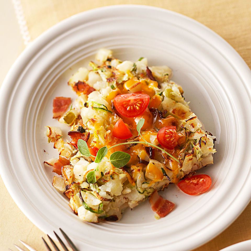 This tasty egg and veggie dish is topped with cherry tomatoes and fresh oregano. Source: Diabetic Living Magazine