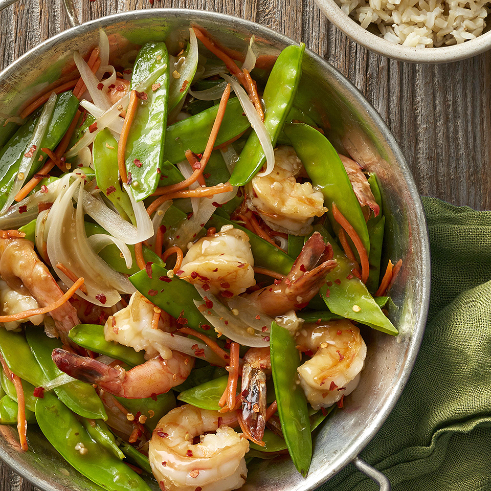 Shrimp and Pea Pod Stir-Fry Diabetic Living Magazine