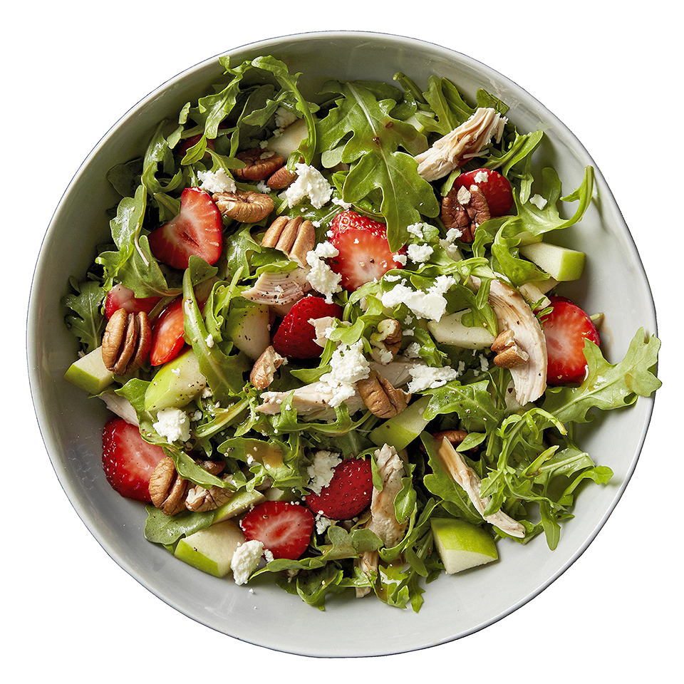 This fruity green salad with chicken offers an explosion of flavors in each bite. The taste of sweet strawberries, peppery arugula and tangy feta cheese is enhanced by the intense balsamic vinaigrette dressing. Source: Diabetic Living Magazine