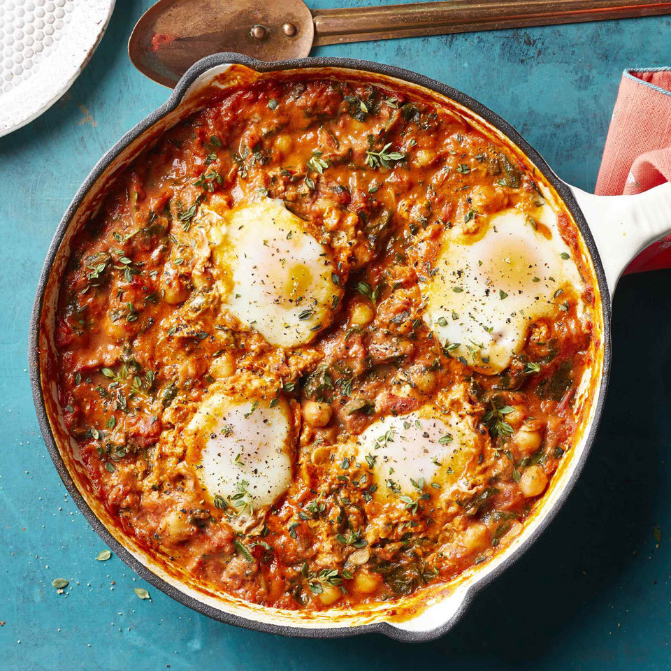 Simmer eggs in a rich tomatoey cream sauce studded with chickpeas and silky spinach for a super-fast vegetarian dinner. Serve with a piece of crusty bread to soak up the sauce. Be sure to use heavy cream; a lower-fat option might curdle when mixed with acidic tomatoes. Source: EatingWell.com, July 2018