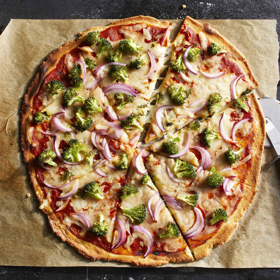 This gluten-free pizza crust is packed with protein, thanks to creamy Neufchâtel (reduced-fat cream cheese), mozzarella cheese and almond flour. We like our almond pizza crusts topped with veggies to round out the meal, but feel free to use your favorite toppings. Source: EatingWell.com, July 2018