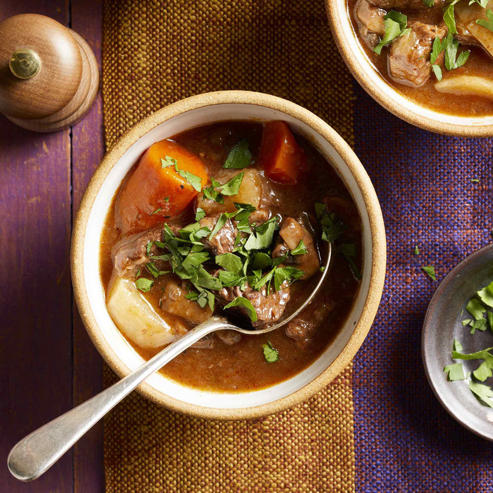 Using a pressure cooker is a great way to slash time from dishes that typically take hours. The beef in this rich and flavorful stew is melt-in-your-mouth tender in only 30 minutes. Source: EatingWell.com, July 2018