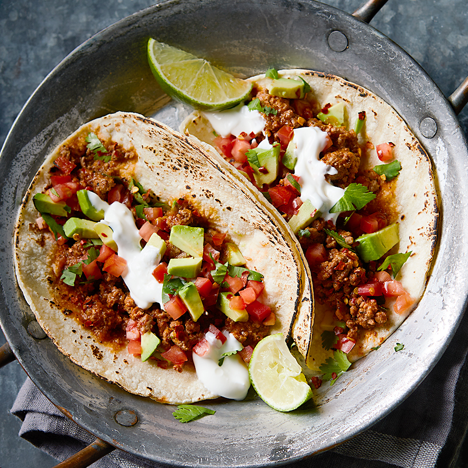 These spicy chipotle tacos are the perfect choice for your next taco night. You can substitute ground turkey for the beef if you'd like, but either way, you'll want to make sure each bite includes a bit of the homemade pico de gallo.