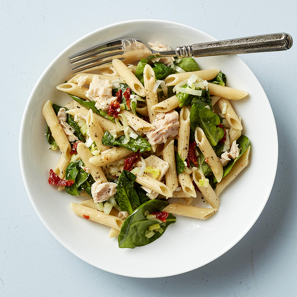 Need a quick pasta dish that's flavorful and colorful? This penne pasta dinner-for-two combines leeks, baby spinach, tuna and sun-dried tomatoes--and it's ready in just 20 minutes! Source: Diabetic Living Magazine