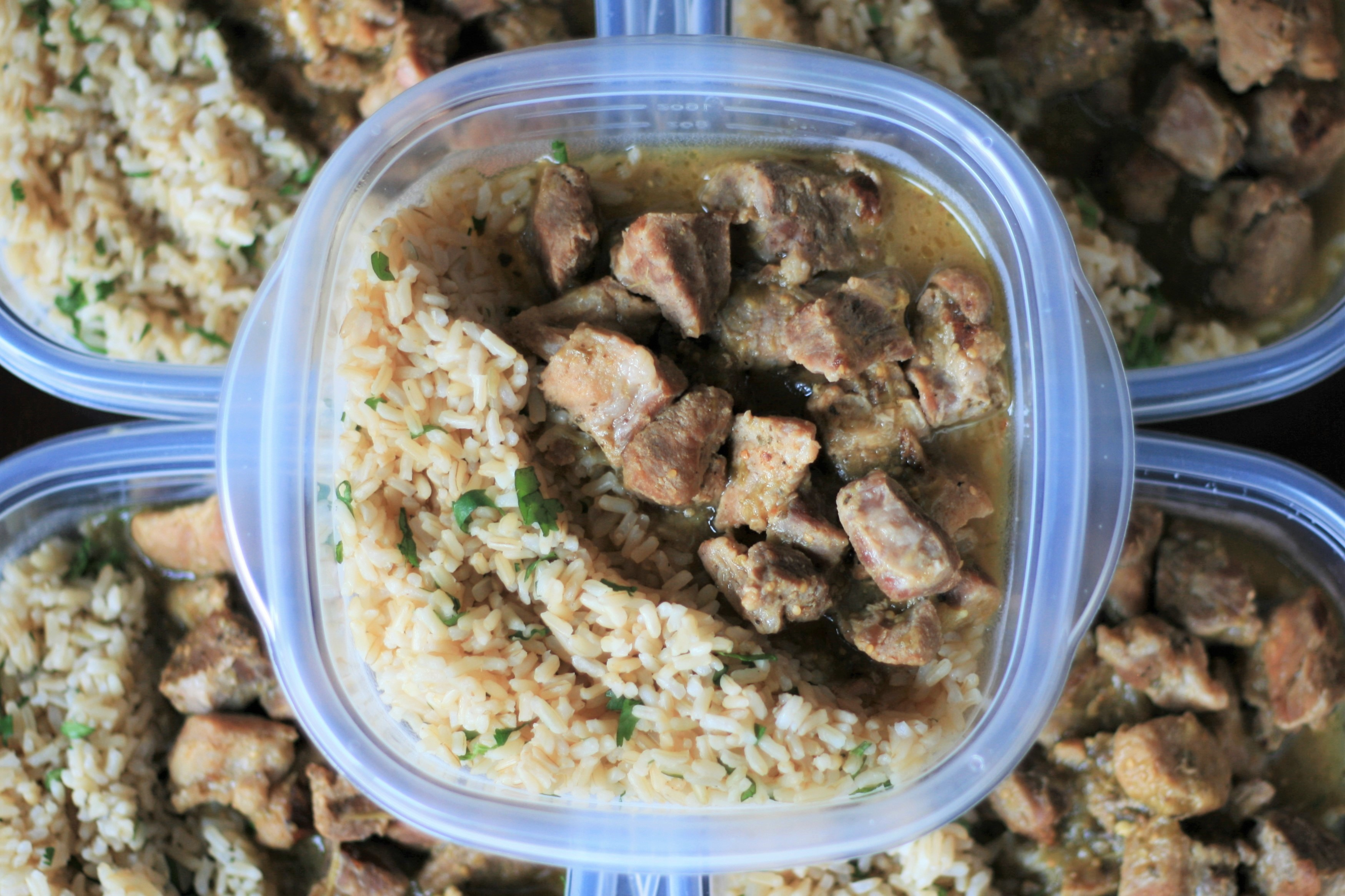 Pressure-Cooked Salsa Verde Pork and Rice