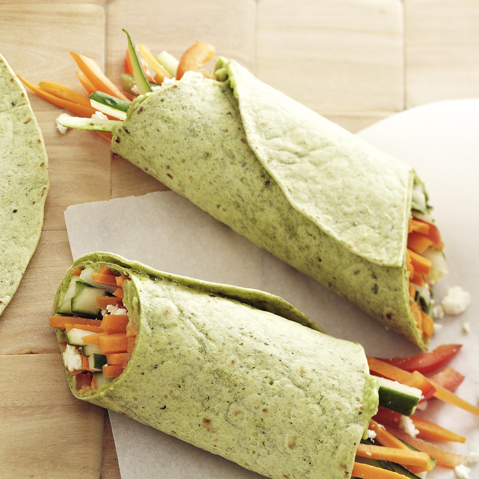 These vegetarian wraps pack perfectly for school or office lunches. Source: Diabetic Living Magazine