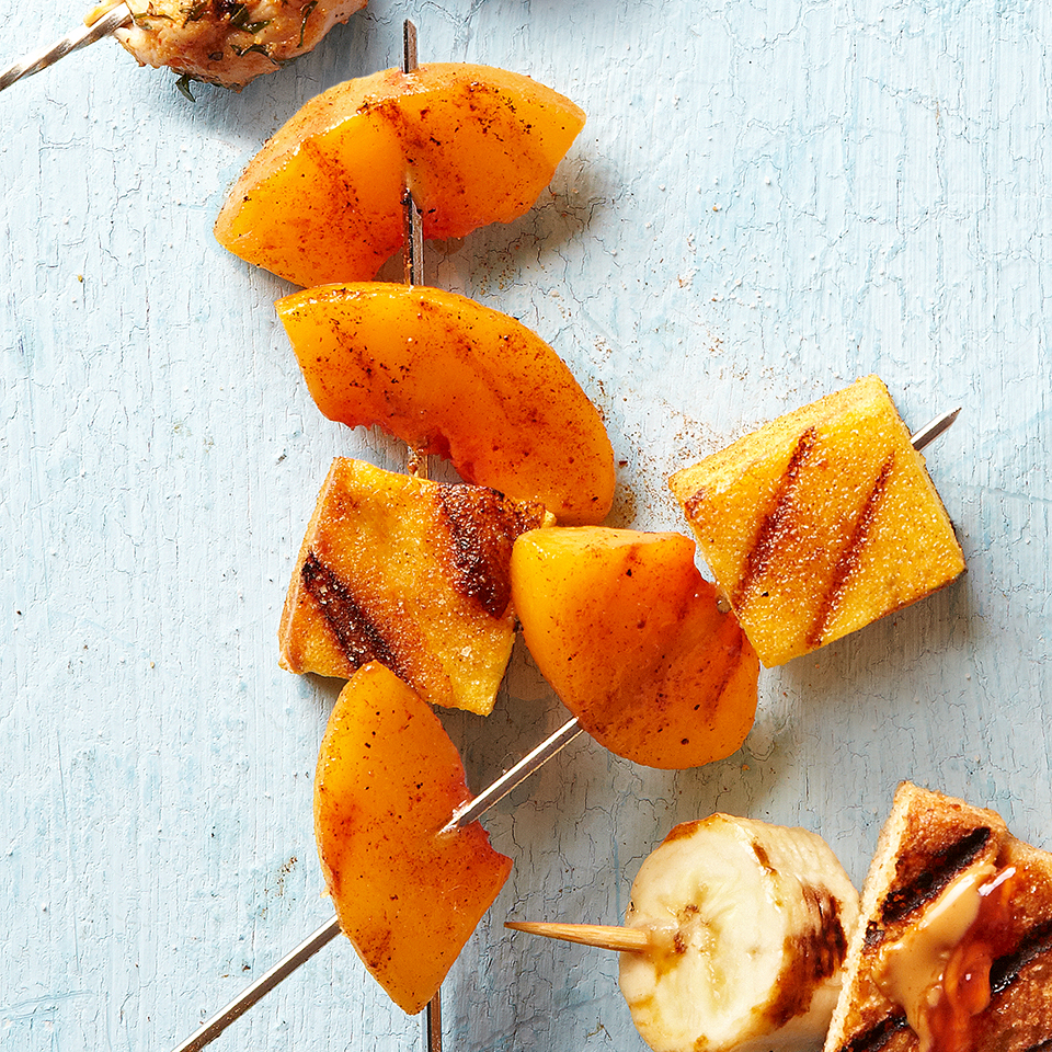 This interesting dessert is one to try when you want to impress your guests. Wedges of fresh peach and cubes of pound cake are threaded onto skewers, sprinkled with a cinnamon-sugar and grilled quickly until the fruit is tender. Delicious--and impressive! Source: Diabetic Living Magazine