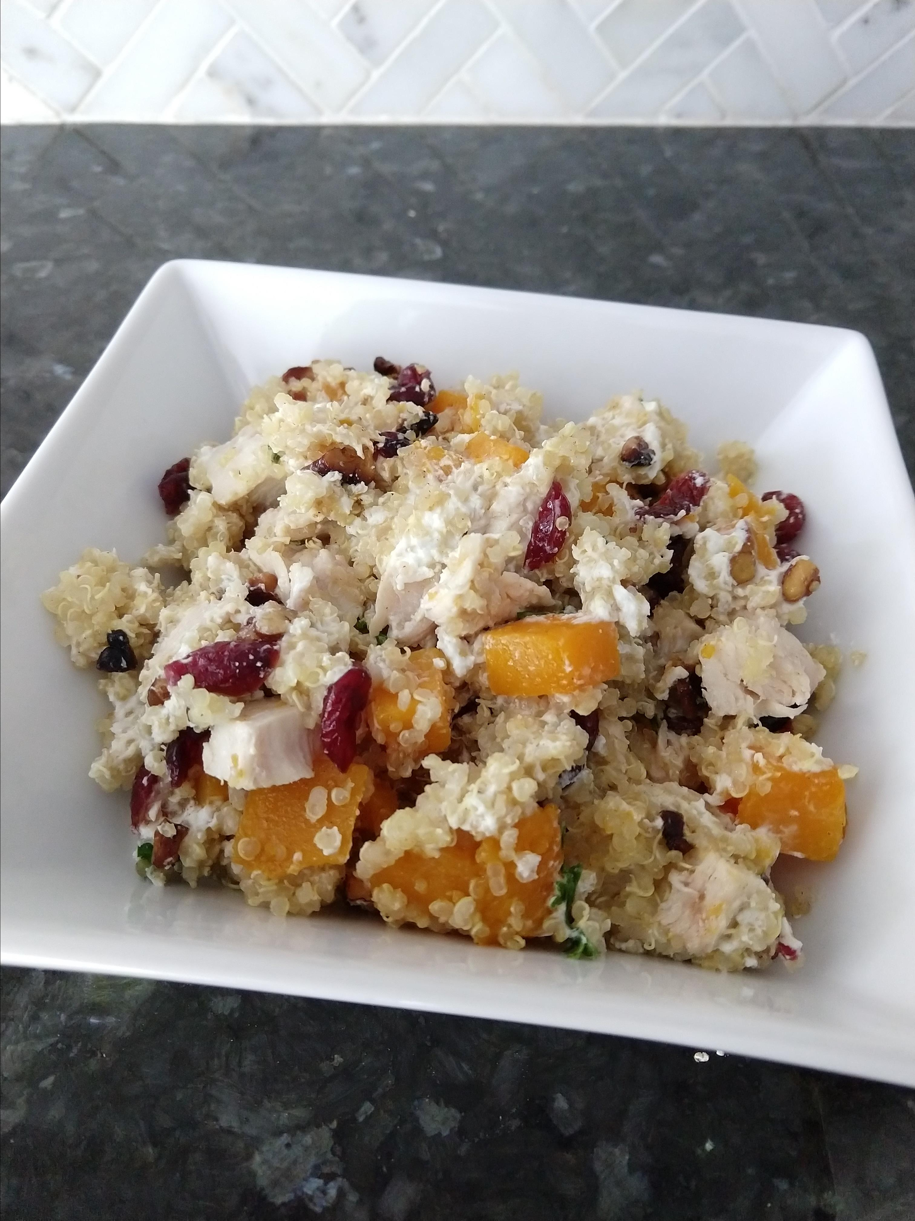 Quinoa with Butternut Squash, Chicken, and Goat Cheese