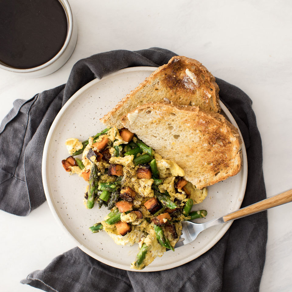 This fridge-clean-out meal is the perfect way to use up whatever vegetables you have on hand. Chop up anything that's been left behind in your veggie drawer for this quick scramble that's the perfect healthy dinner for one. Source: EatingWell.com, July 2018