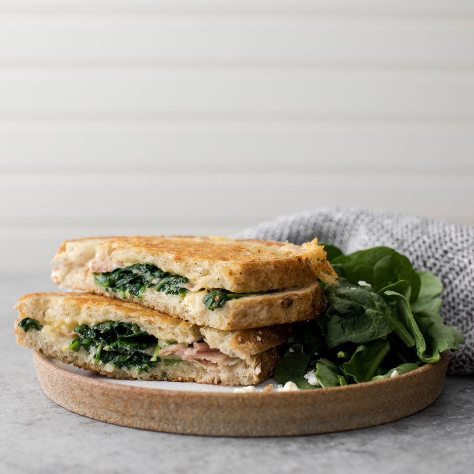 Make grilled cheese for one with this quick and easy recipe! This sandwich packs in a healthy dose of veggies plus a delicious flavor boost from sliced prosciutto (Italian ham). Source: EatingWell.com, July 2018