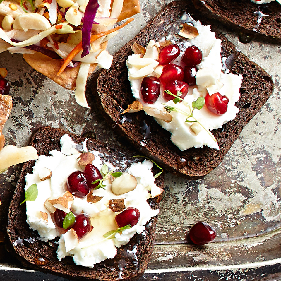 These small appetizer bites boast big flavor! Toasted pumpernickel slices are an ideal base for goat cheese sprinkled with almonds, thyme and a touch of sweet honey. Your guests will love these, so be sure you make enough for a second round.
