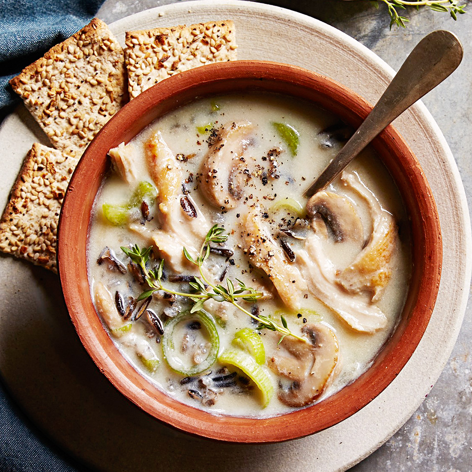 Perfect for dinner on a cold evening, this slow-cooker chicken soup is chock full of mushrooms, leeks, celery and wild rice. It gets its creaminess from a blend of low-fat milk and silken-style tofu. Source: Diabetic Living Magazine