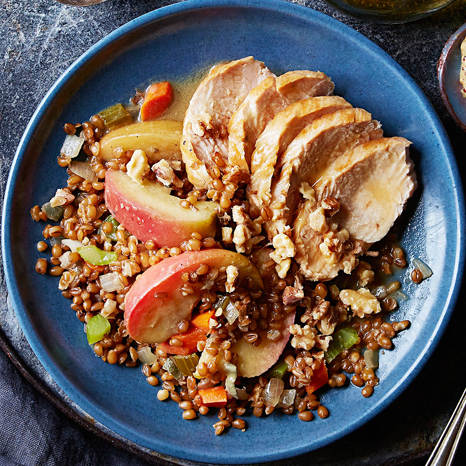 The turkey tenderloin in this recipe marinates in a Dijon mustard and sage mixture while the wheat berries cook in the slow cooker. Then they're both combined with apple wedges and cooked just a bit longer with the marinade. Delicious!