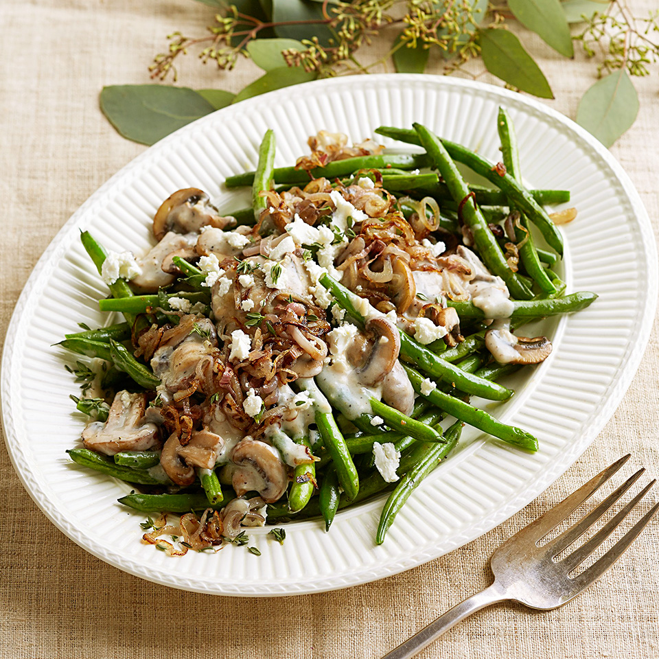 A much healthier take on the old-fashioned green bean casserole, this version thankfully skips the canned soup and fried onions! Fresh green beans are cooked until crisp-tender and topped with a garlicky-thyme mushroom sauce, shallots and crumbled chèvre.