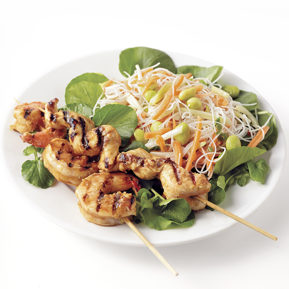Miso-Marinated Shrimp and Chicken Skewers Diabetic Living Magazine