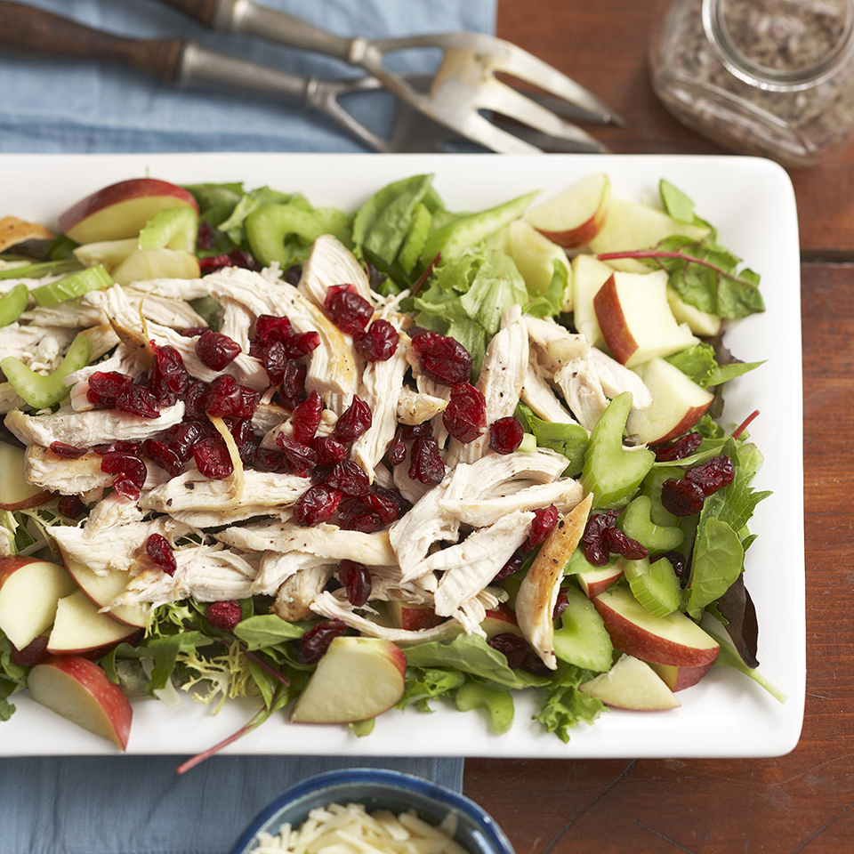 We add cranberries and apples to boost the flavor in this 25-minute chicken salad recipe. Source: Diabetic Living Magazine