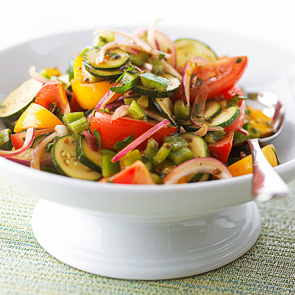 Serving this salad combo at room temperature helps the full flavor of the veggies come through.