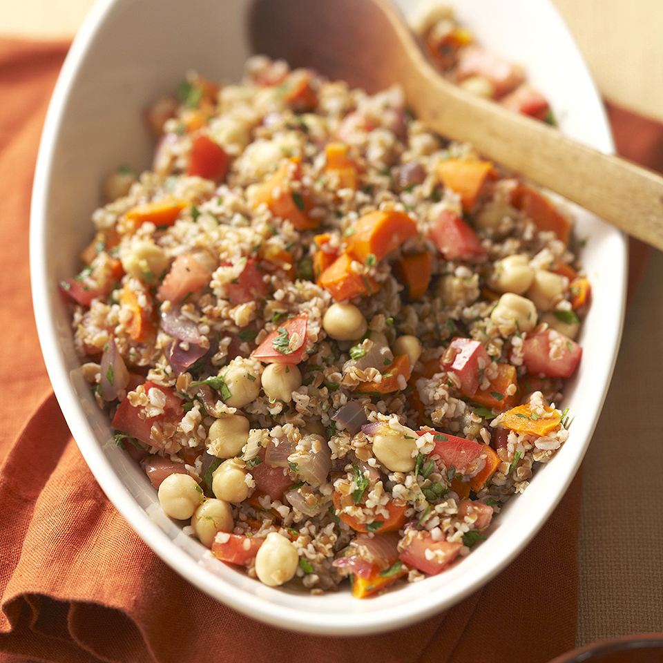 This classic vegetarian salad is loaded with vegetables, bulgur and chickpeas. Our suggested serving size is 1 1/2 cups, but feel free to cut that in half to serve more people or to make the dish last longer.Source: Diabetic Living Magazine