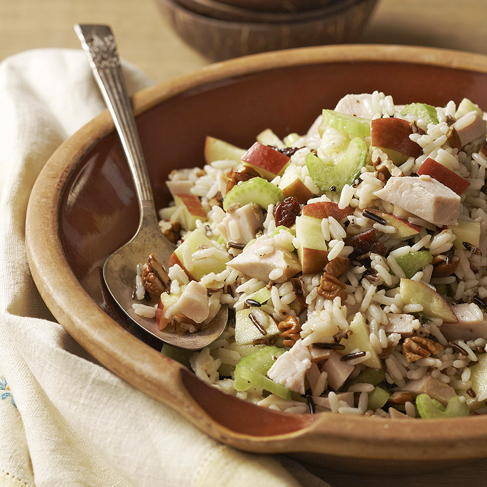 This 25-minutes, main dish, grain salad features a wild rice mix and cooked turkey breast. Sweet apples and dried cherries are a pleasing contrast to the crunchy celery and toasted pecans, and the thyme-flavored dressing enhances all the different flavors nicely. It can be chilled for up to 24 hours, so consider making it a day ahead.
