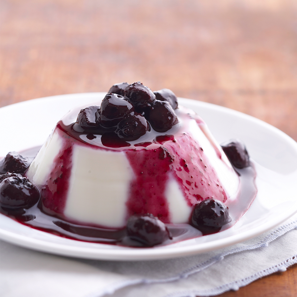 "Panna cotta means ""cooked cream"" in Italian. This version of the delicious Italian dessert is flavored with amaretto or almond extract and served with a luscious blueberry sauce. Source: Diabetic Living Magazine"
