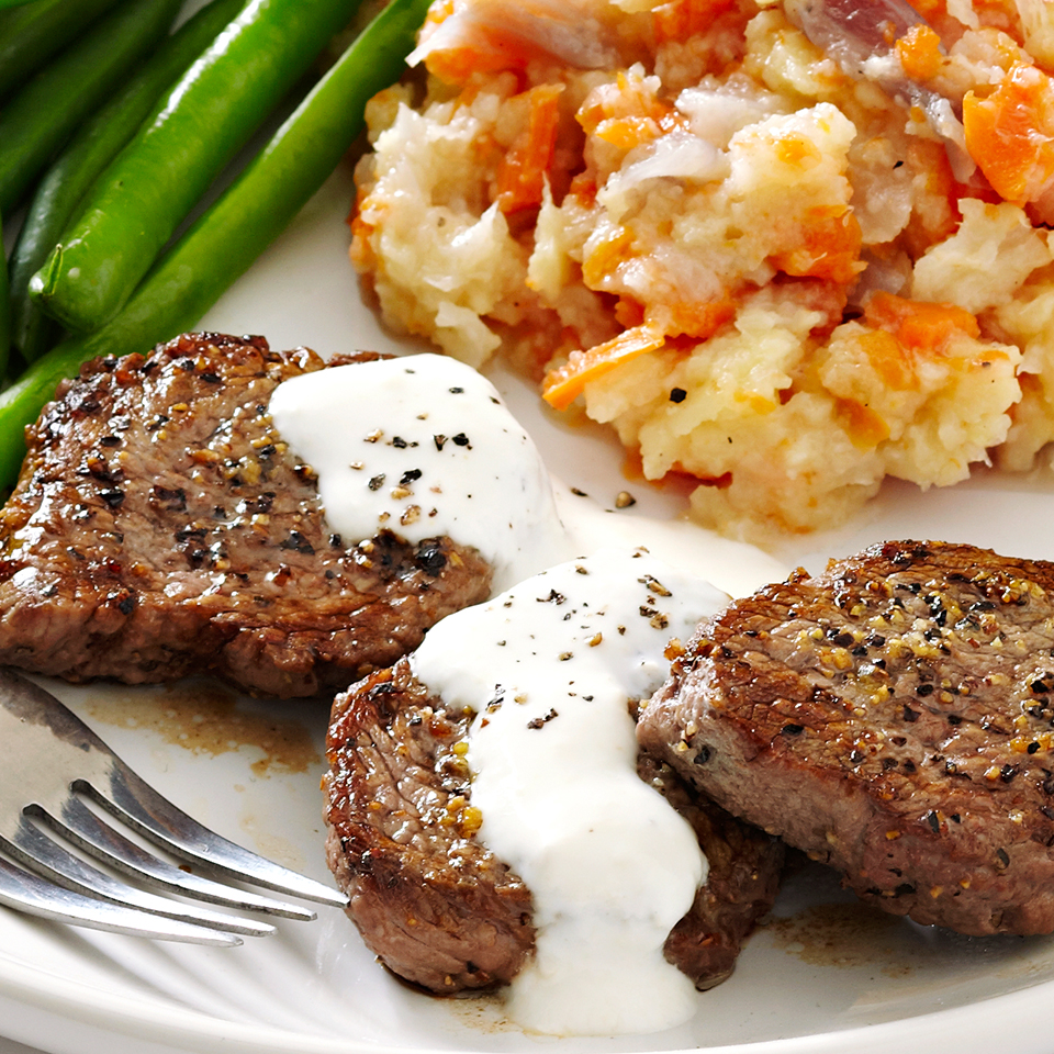 Tenderized medallions of beef sprinkled with a lemon-pepper seasoning are cooked in a hot skillet and served with a pungent, Greek yogurt-based horseradish sauce. Ready in under 15 minutes, this main dish is a great choice for special occasions. Source: Diabetic Living Magazine