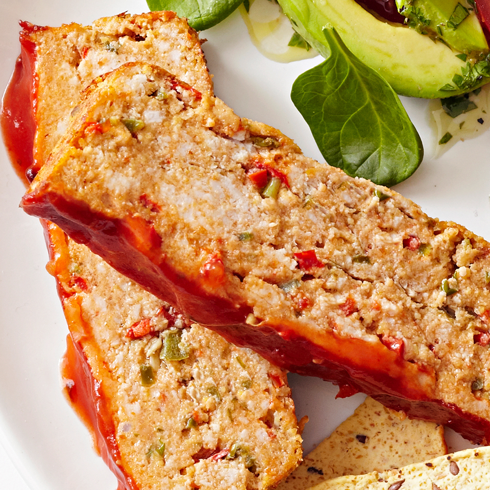 This recipe takes your grandmother's 1950's meat loaf and brings it into the modern era! It's made with ground turkey, peppers, green onions, reduced-sodium taco seasoning and jalapeño pepper. Taco sauce is baked right onto the top of the loaf.Source: Diabetic Living Magazine