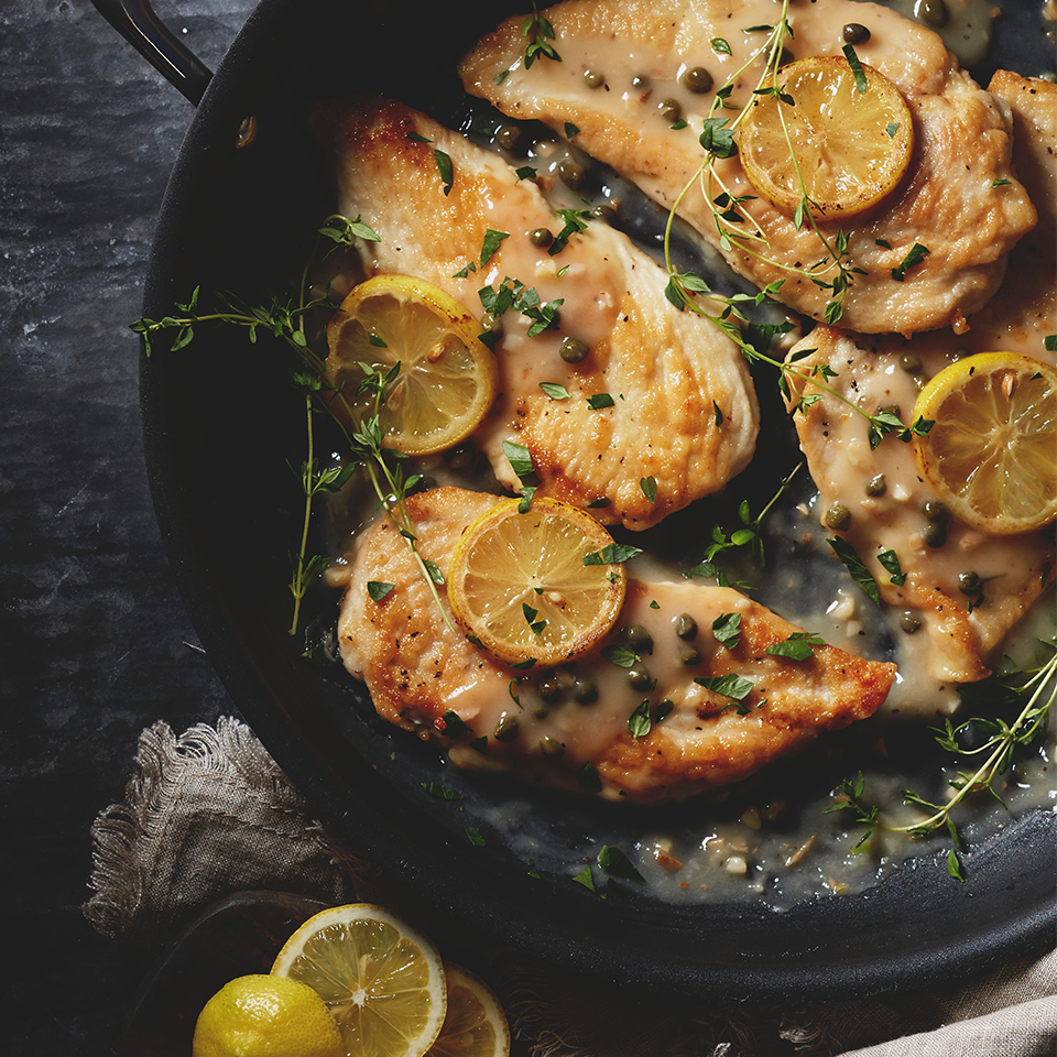 Tenderized chicken breasts are cooked with lemon slices and served in a mouthwatering sauce of garlic, wine and lemon juice in this chicken piccata dinner. Source: Diabetic Living Magazine
